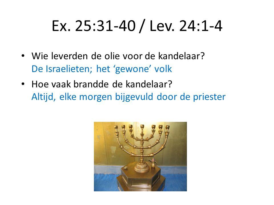 Ex. 25:31-40 / Lev. 24:1-4 Wie leverden de olie voor de kandelaar? De Israelieten; het 'gewone' volk Hoe vaak brandde de kandelaar? Altijd, elke morge