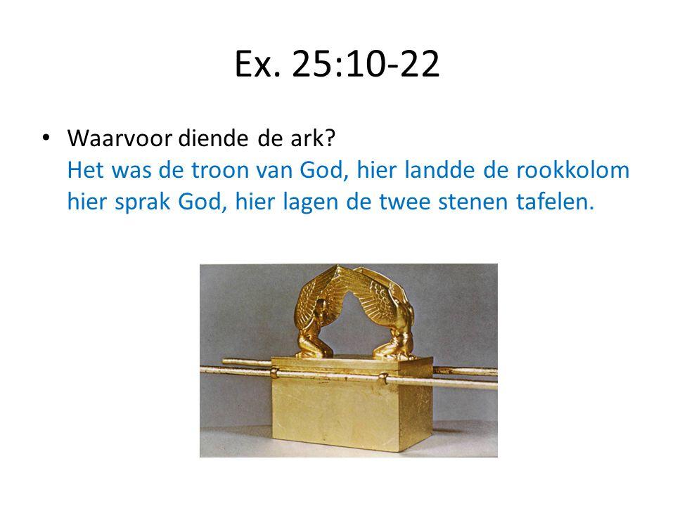 Ex. 25:10-22 Waarvoor diende de ark? Het was de troon van God, hier landde de rookkolom hier sprak God, hier lagen de twee stenen tafelen.