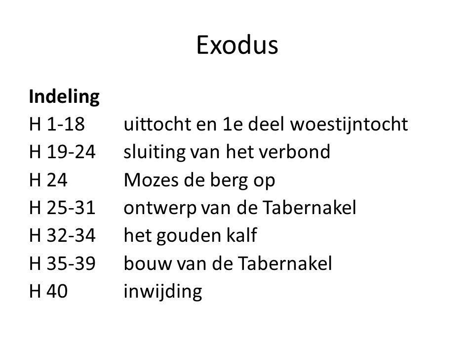 Exodus Indeling H 1-18 uittocht en 1e deel woestijntocht H 19-24 sluiting van het verbond H 24 Mozes de berg op H 25-31 ontwerp van de Tabernakel H 32