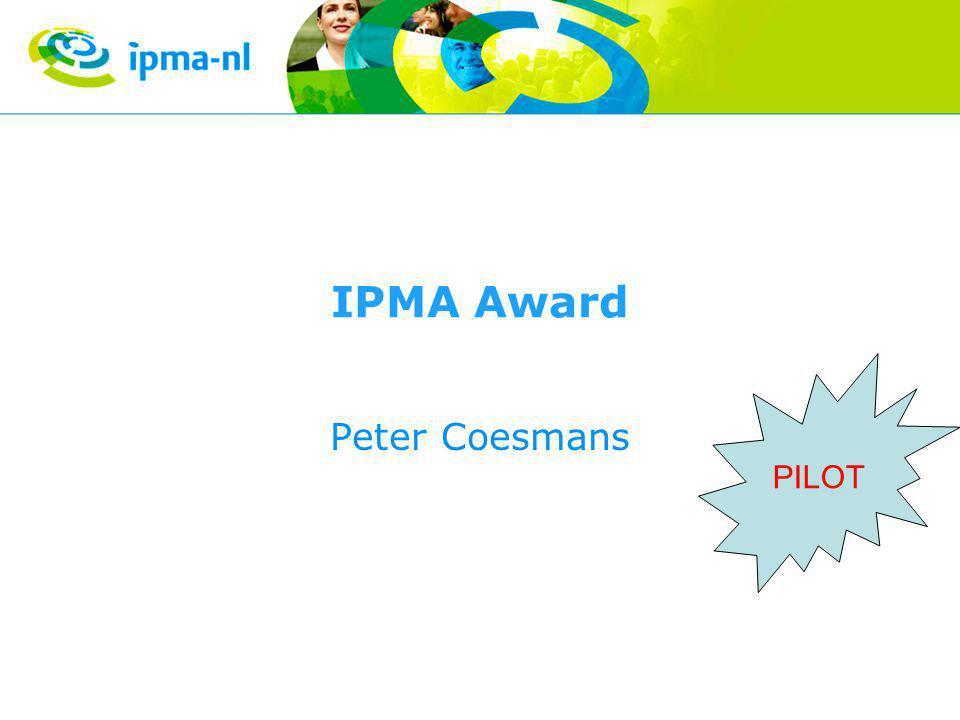 IPMA Award Peter Coesmans PILOT