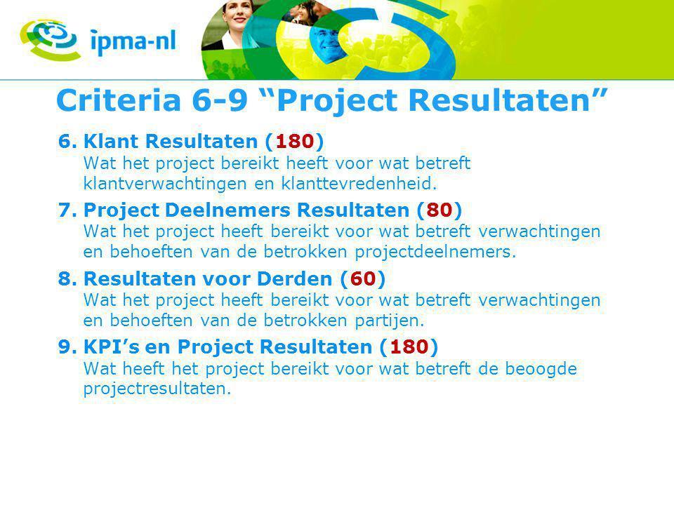 Criteria 6-9 Project Resultaten 6.Klant Resultaten (180) Wat het project bereikt heeft voor wat betreft klantverwachtingen en klanttevredenheid.