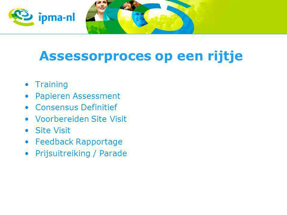 Assessorproces op een rijtje Training Papieren Assessment Consensus Definitief Voorbereiden Site Visit Site Visit Feedback Rapportage Prijsuitreiking / Parade