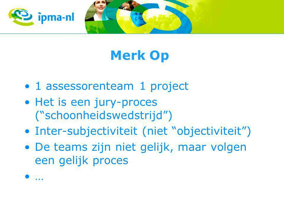 Merk Op 1 assessorenteam 1 project Het is een jury-proces ( schoonheidswedstrijd ) Inter-subjectiviteit (niet objectiviteit ) De teams zijn niet gelijk, maar volgen een gelijk proces …