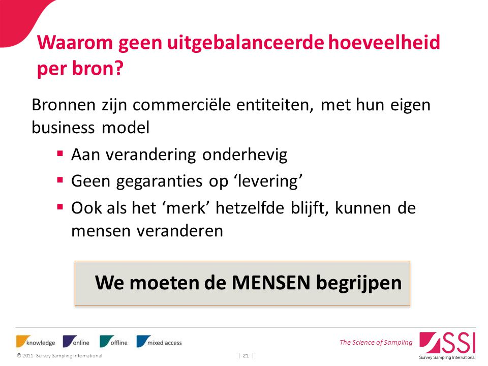The Science of Sampling © 2011 Survey Sampling International | 21 | Waarom geen uitgebalanceerde hoeveelheid per bron.