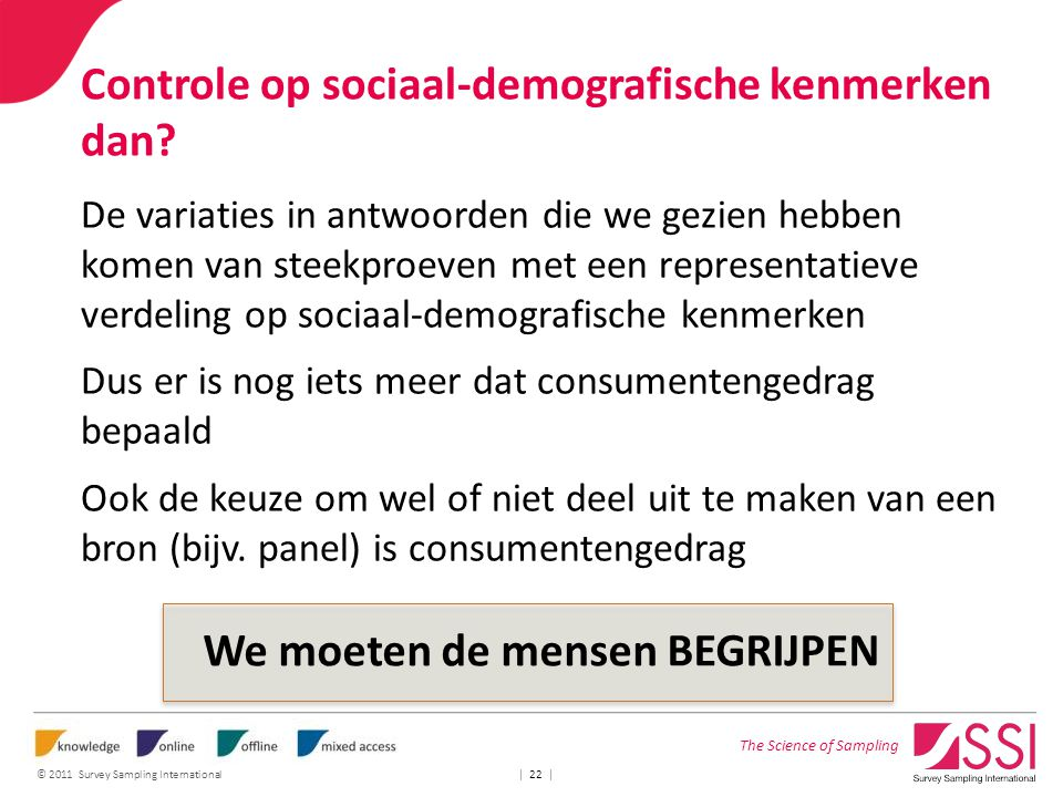 The Science of Sampling © 2011 Survey Sampling International | 22 | Controle op sociaal-demografische kenmerken dan.