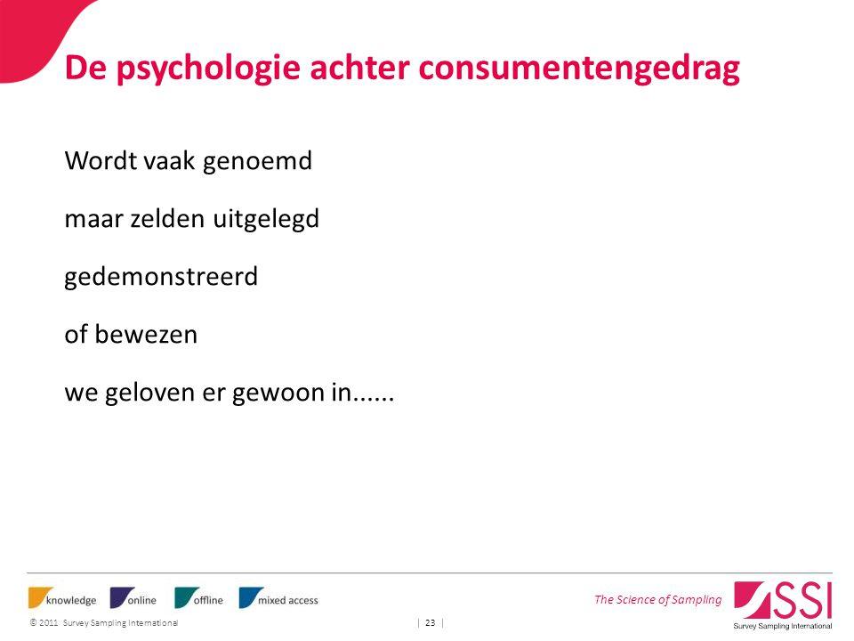 The Science of Sampling © 2011 Survey Sampling International | 23 | De psychologie achter consumentengedrag Wordt vaak genoemd maar zelden uitgelegd g