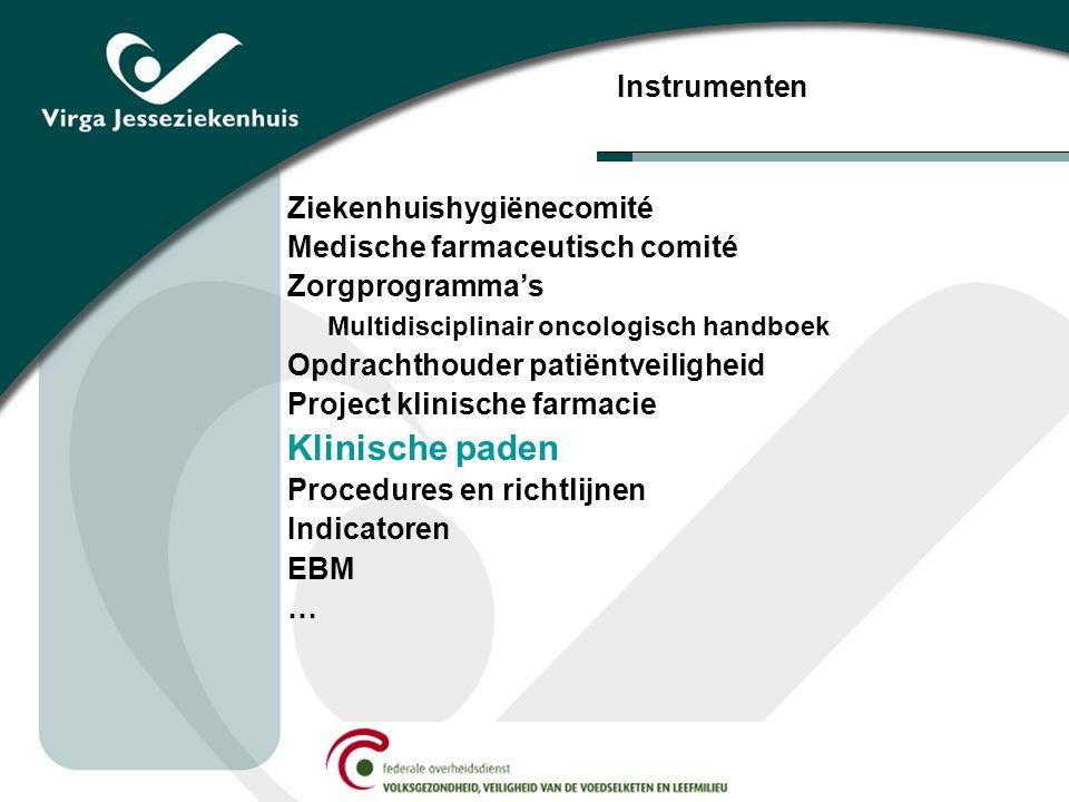 Ziekenhuishygiënecomité Medische farmaceutisch comité Zorgprogramma's Multidisciplinair oncologisch handboek Opdrachthouder patiëntveiligheid Project klinische farmacie Klinische paden Procedures en richtlijnen Indicatoren EBM … Instrumenten
