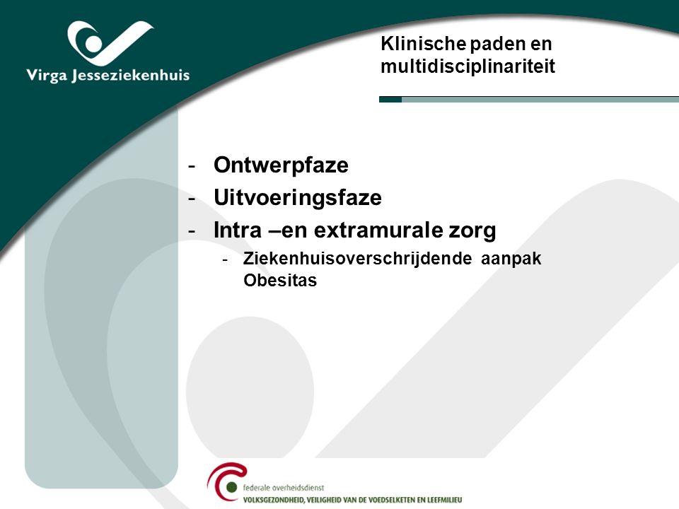 Klinische paden en multidisciplinariteit -Ontwerpfaze -Uitvoeringsfaze -Intra –en extramurale zorg -Ziekenhuisoverschrijdende aanpak Obesitas