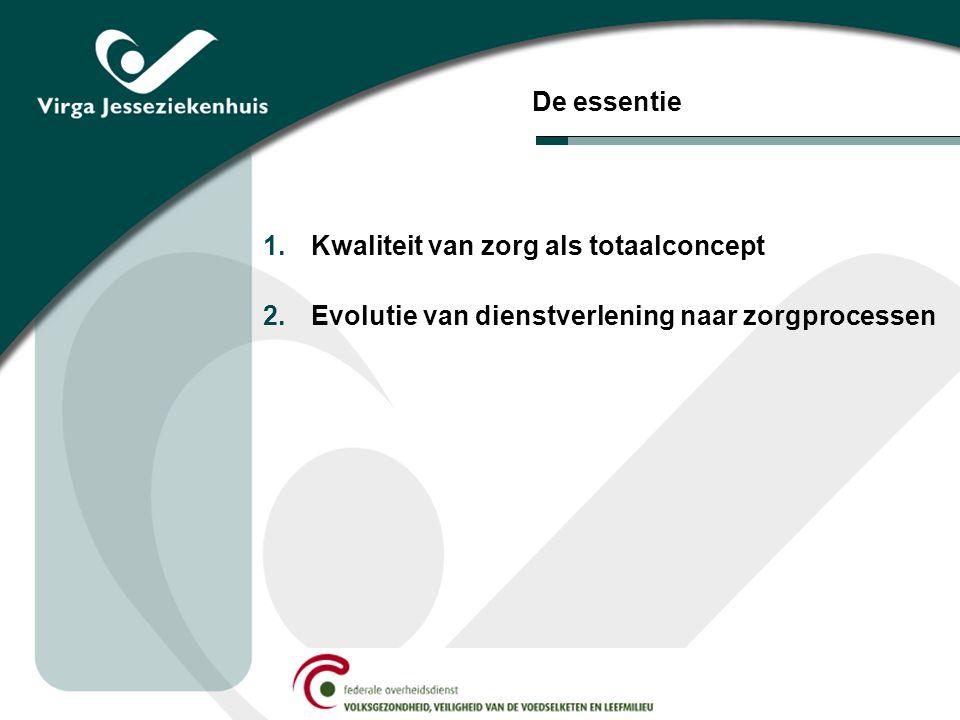 De essentie 1.Kwaliteit van zorg als totaalconcept 2.Evolutie van dienstverlening naar zorgprocessen