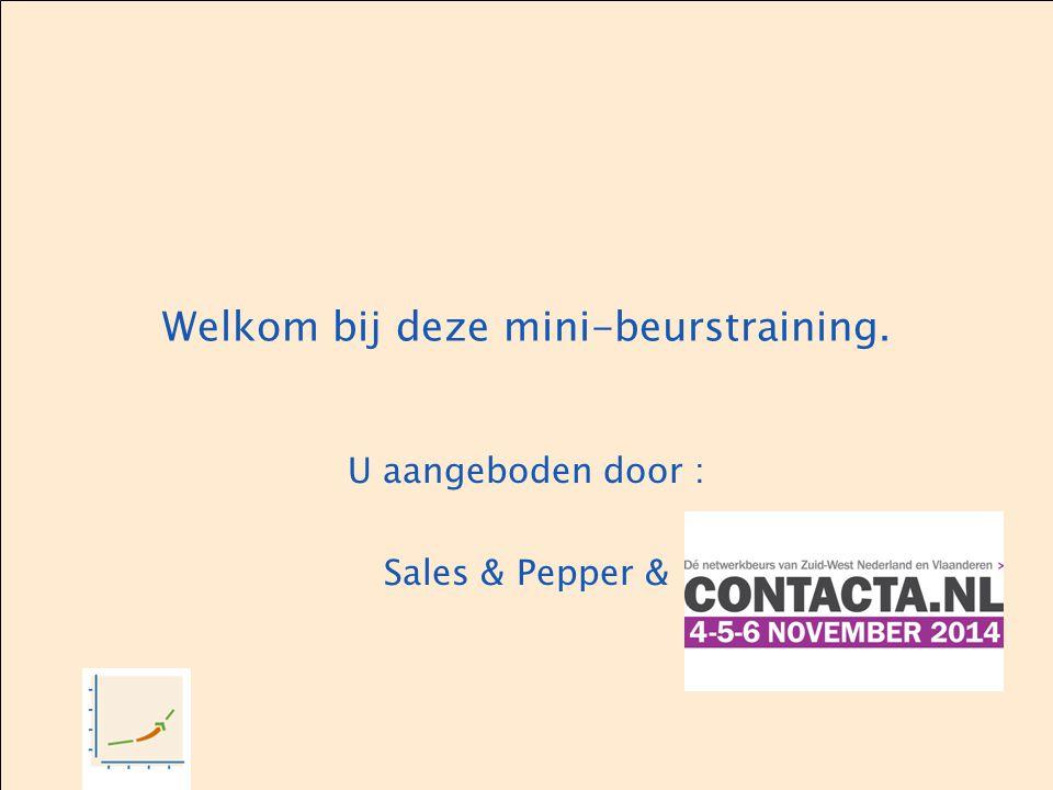 Welkom bij deze mini-beurstraining. U aangeboden door : Sales & Pepper &
