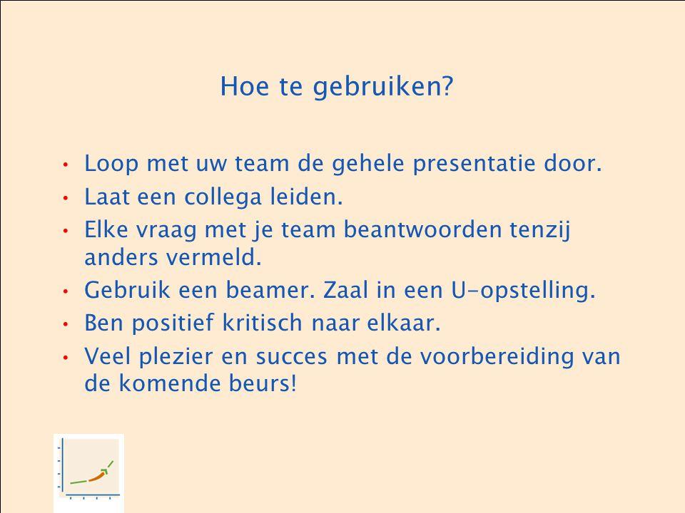 Hoe te gebruiken? Loop met uw team de gehele presentatie door. Laat een collega leiden. Elke vraag met je team beantwoorden tenzij anders vermeld. Geb