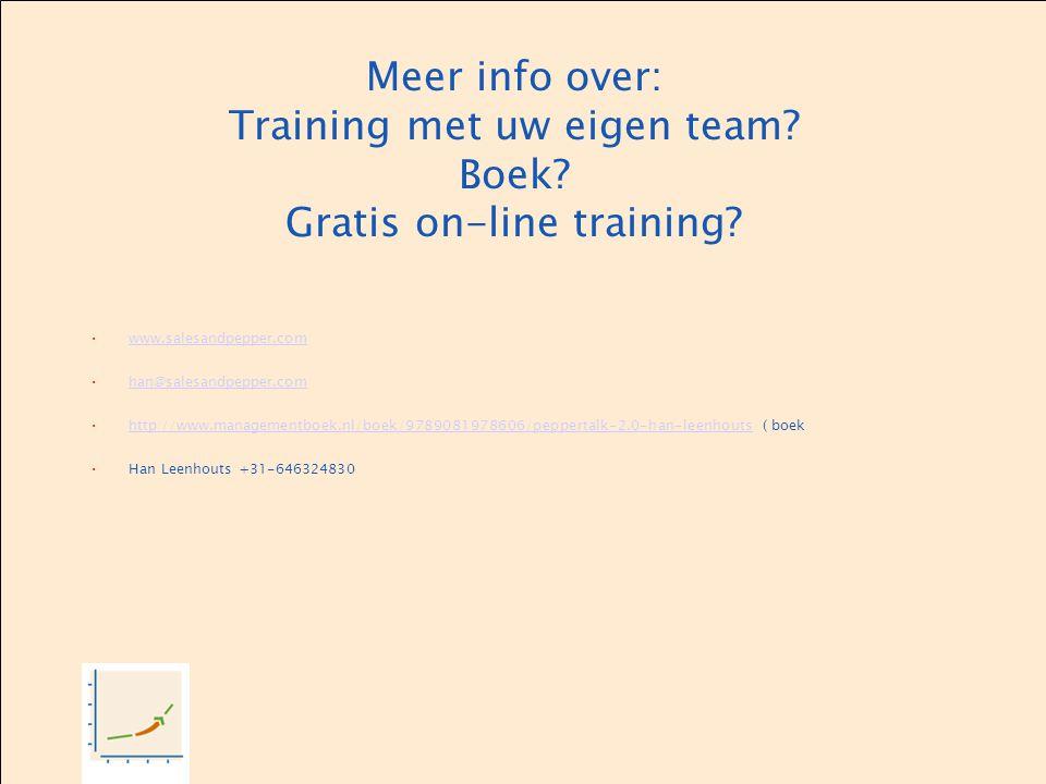 Meer info over: Training met uw eigen team? Boek? Gratis on-line training? www.salesandpepper.com han@salesandpepper.com http://www.managementboek.nl/