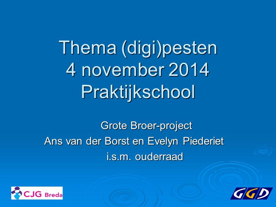 Programma 19.30-20.00 Grote broer-project: Rap en ervaringsverhaal 20.00-2045 CJG/GGD: Presentatie pesten/digipesten 20.45-21.00 Toelichting school protocol