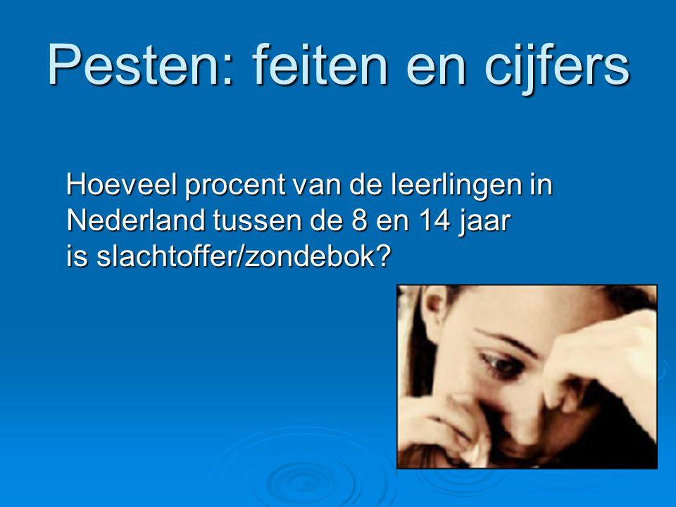 Pesten: feiten en cijfers Hoeveel procent van de leerlingen in Nederland tussen de 8 en 14 jaar is slachtoffer/zondebok? Hoeveel procent van de leerli