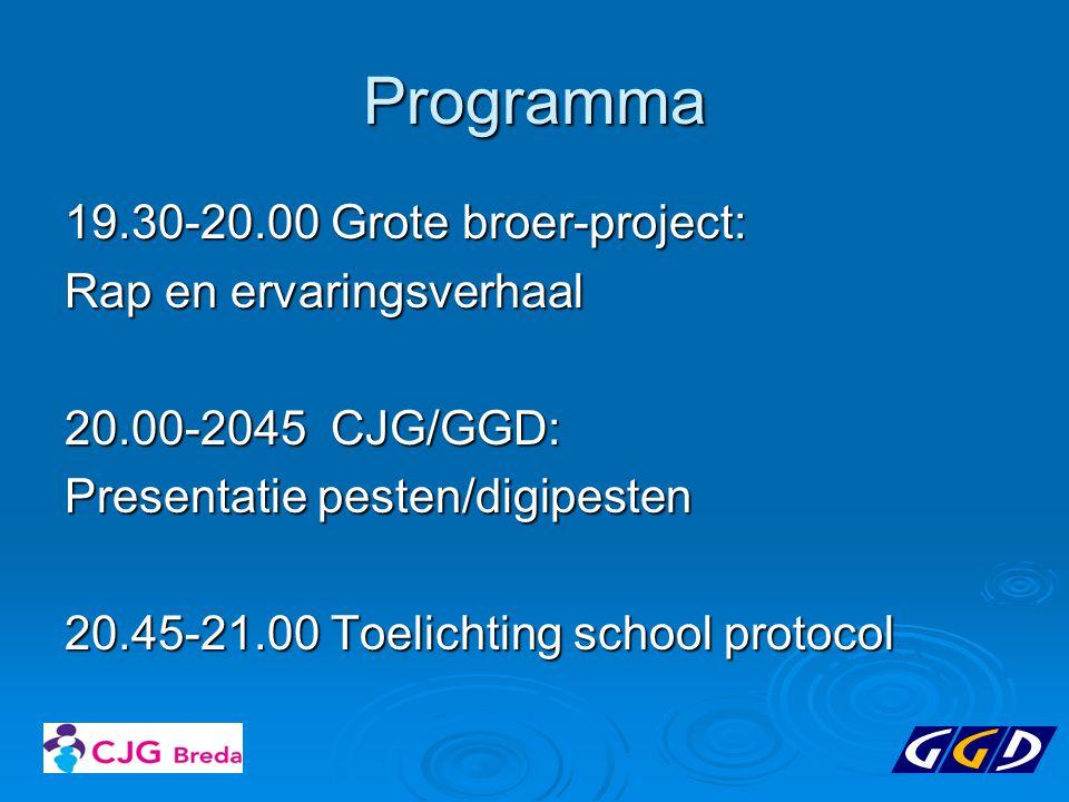Programma 19.30-20.00 Grote broer-project: Rap en ervaringsverhaal 20.00-2045 CJG/GGD: Presentatie pesten/digipesten 20.45-21.00 Toelichting school pr