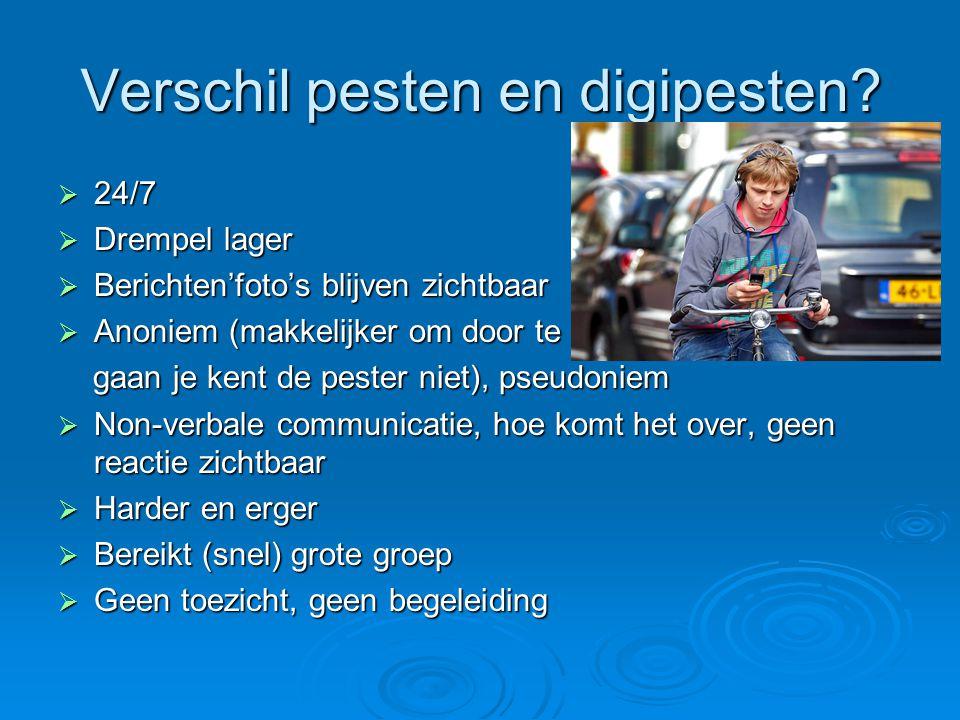 Verschil pesten en digipesten?  24/7  Drempel lager  Berichten'foto's blijven zichtbaar  Anoniem (makkelijker om door te gaan, gaan je kent de pes