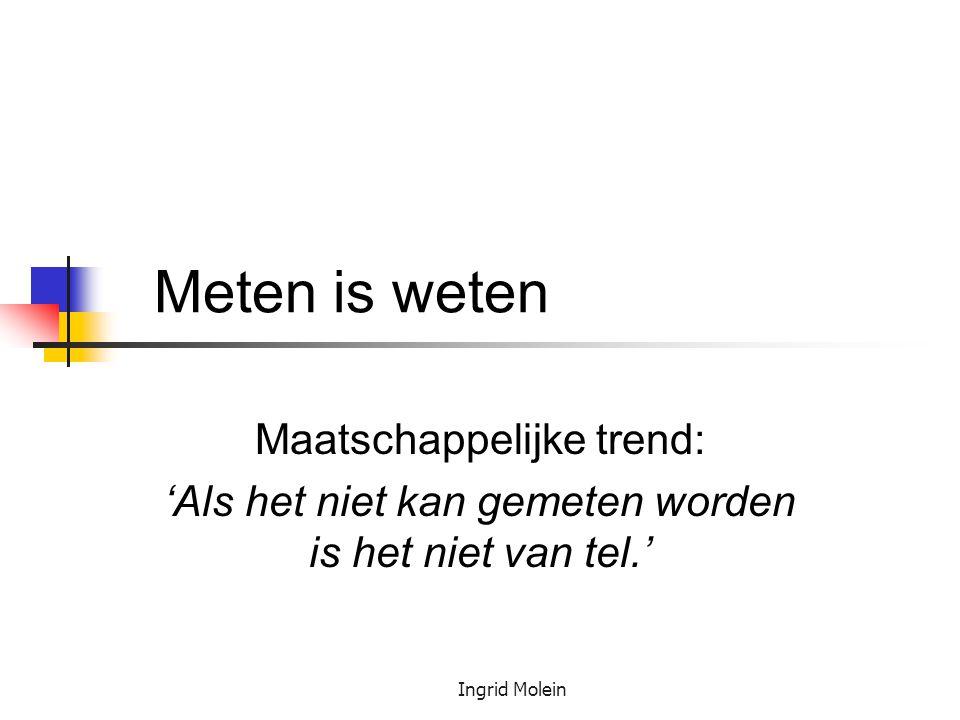 Ingrid Molein Meten is weten Maatschappelijke trend: 'Als het niet kan gemeten worden is het niet van tel.'