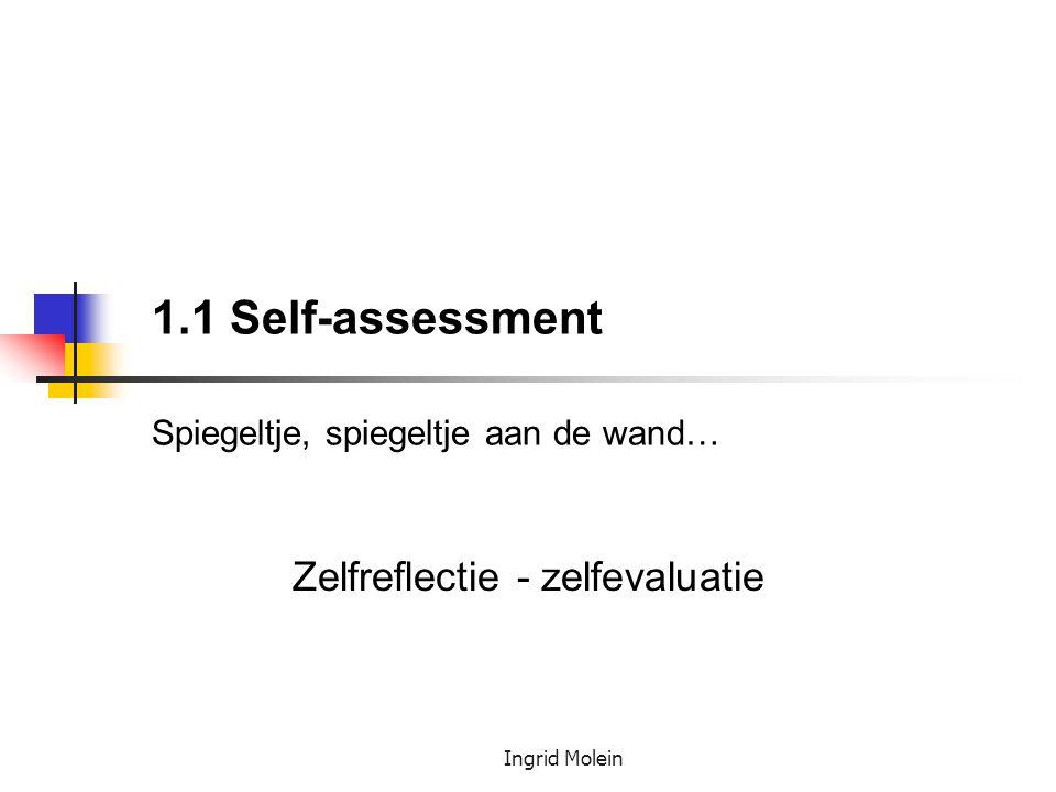 Ingrid Molein 1.1 Self-assessment Spiegeltje, spiegeltje aan de wand… Zelfreflectie - zelfevaluatie