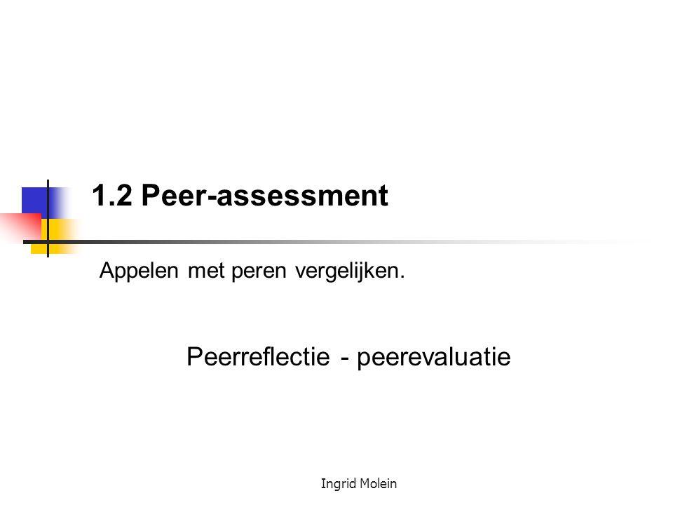 Ingrid Molein 1.2 Peer-assessment Appelen met peren vergelijken. Peerreflectie - peerevaluatie