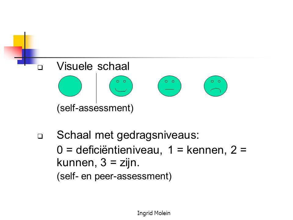 Ingrid Molein  Visuele schaal (self-assessment)  Schaal met gedragsniveaus: 0 = deficiëntieniveau, 1 = kennen, 2 = kunnen, 3 = zijn. (self- en peer-
