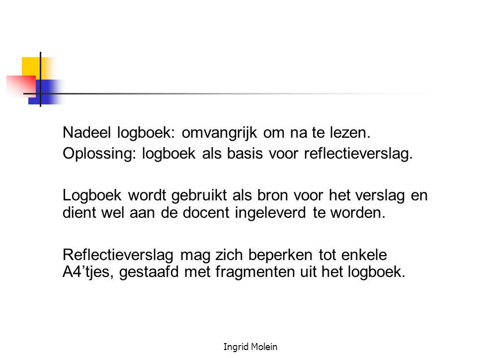 Ingrid Molein Nadeel logboek: omvangrijk om na te lezen. Oplossing: logboek als basis voor reflectieverslag. Logboek wordt gebruikt als bron voor het