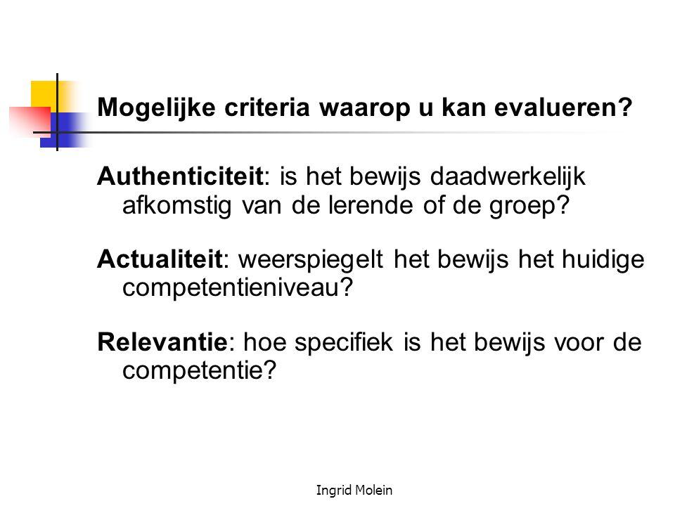 Ingrid Molein Mogelijke criteria waarop u kan evalueren? Authenticiteit: is het bewijs daadwerkelijk afkomstig van de lerende of de groep? Actualiteit