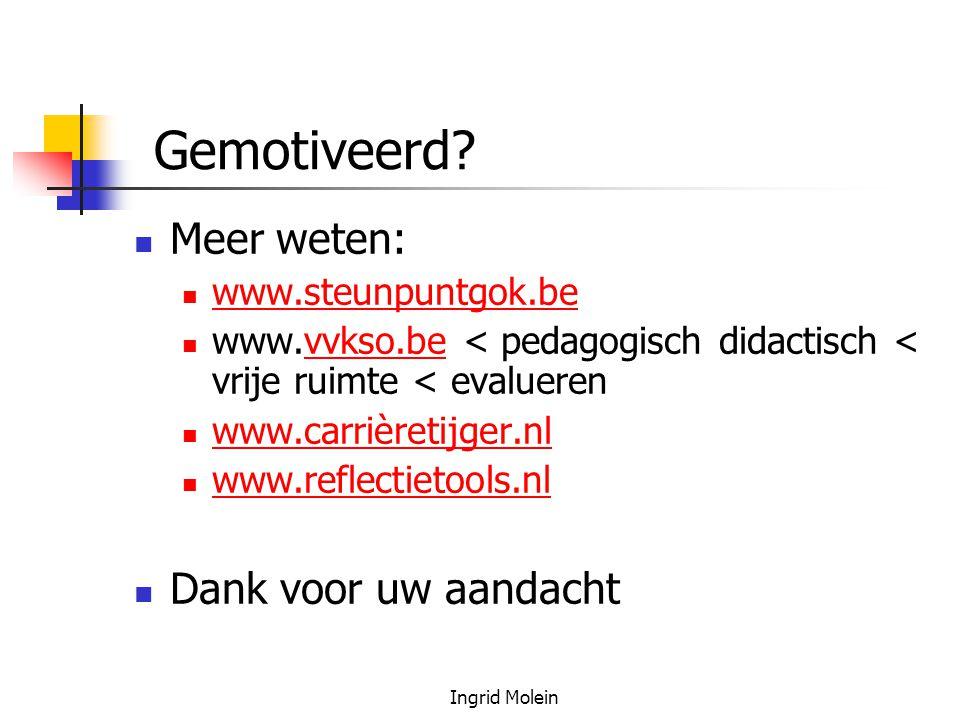 Ingrid Molein Gemotiveerd? Meer weten: www.steunpuntgok.be www.vvkso.be < pedagogisch didactisch < vrije ruimte < evaluerenvvkso.be www.carrièretijger
