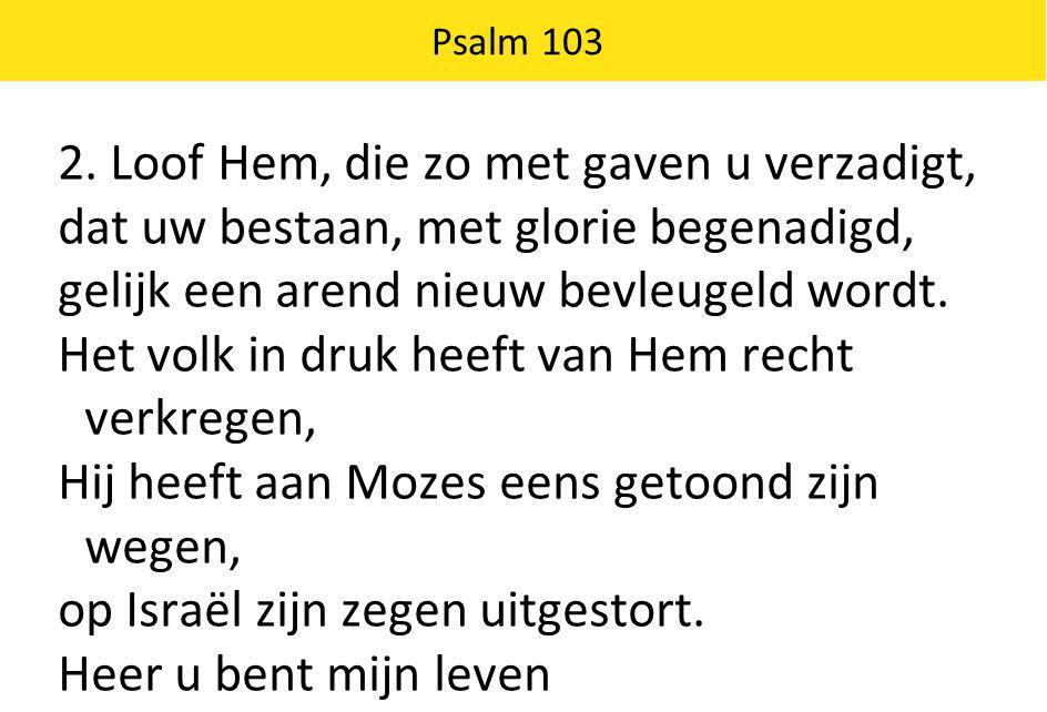 Psalm 103 2. Loof Hem, die zo met gaven u verzadigt, dat uw bestaan, met glorie begenadigd, gelijk een arend nieuw bevleugeld wordt. Het volk in druk