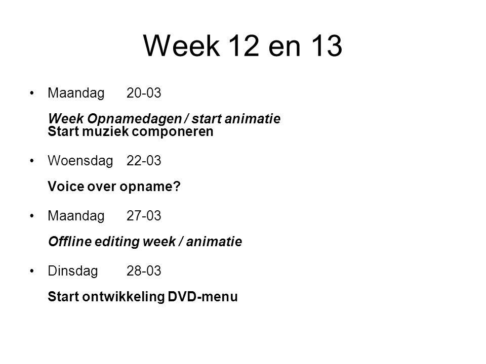 Week 12 en 13 Maandag20-03 Week Opnamedagen / start animatie Start muziek componeren Woensdag22-03 Voice over opname.
