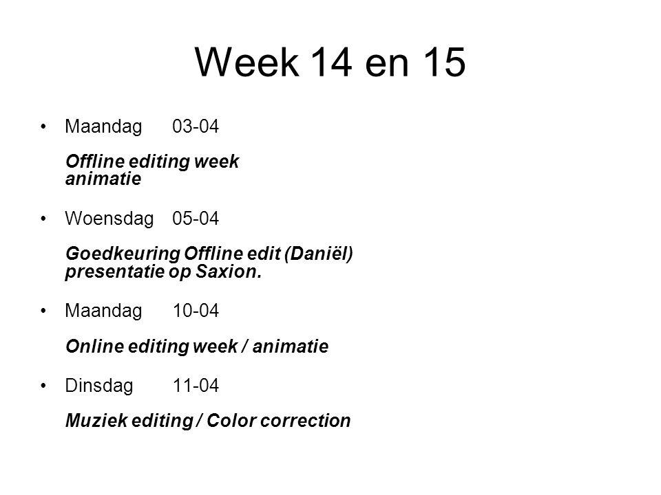 Week 14 en 15 Maandag03-04 Offline editing week animatie Woensdag05-04 Goedkeuring Offline edit (Daniël) presentatie op Saxion.