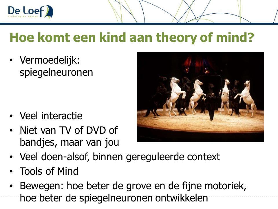 Hoe komt een kind aan theory of mind? Vermoedelijk: spiegelneuronen Veel interactie Niet van TV of DVD of bandjes, maar van jou Veel doen-alsof, binne