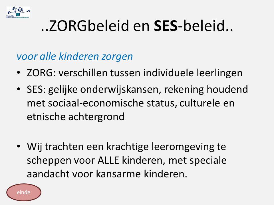 ..ZORGbeleid en SES-beleid.. voor alle kinderen zorgen ZORG: verschillen tussen individuele leerlingen SES: gelijke onderwijskansen, rekening houdend