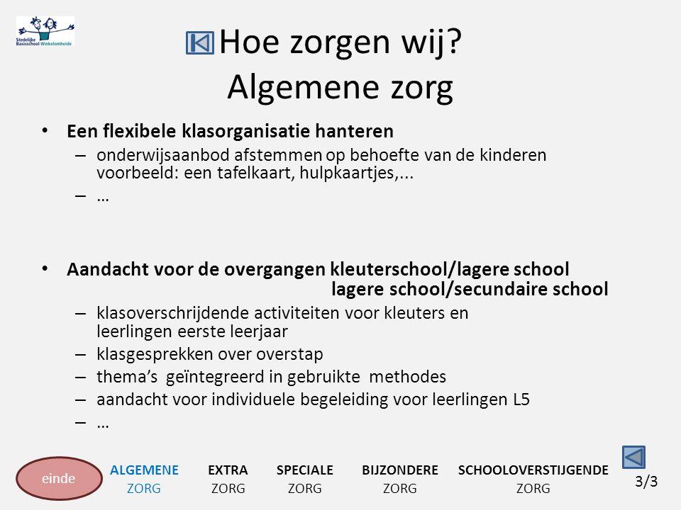Hoe zorgen wij? Algemene zorg Een flexibele klasorganisatie hanteren – onderwijsaanbod afstemmen op behoefte van de kinderen voorbeeld: een tafelkaart