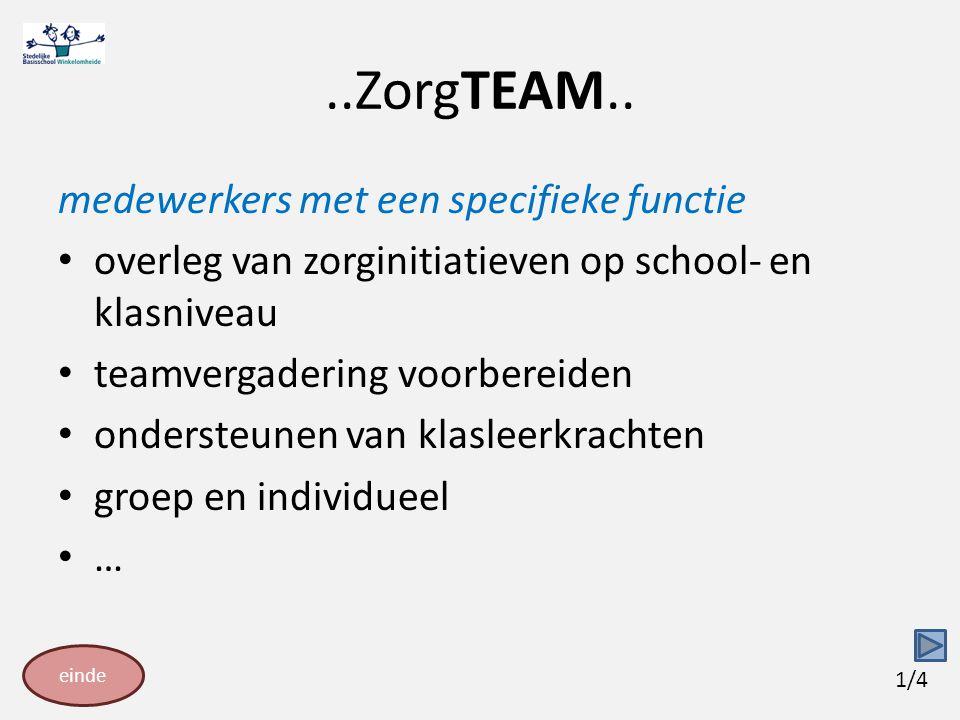 ..ZorgTEAM.. medewerkers met een specifieke functie overleg van zorginitiatieven op school- en klasniveau teamvergadering voorbereiden ondersteunen va
