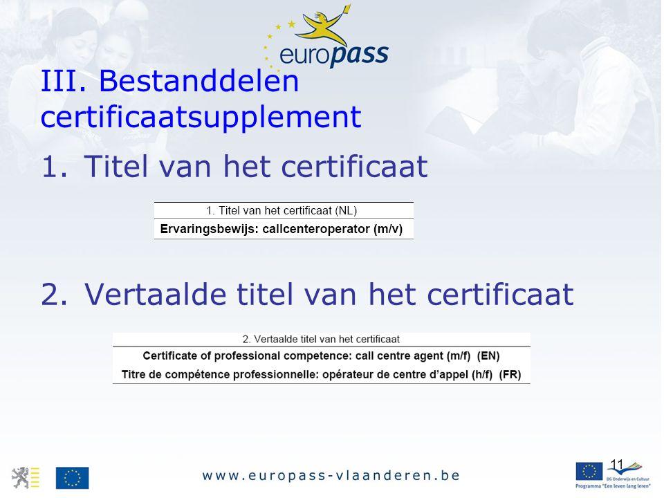 11 III. Bestanddelen certificaatsupplement 1.Titel van het certificaat 2.Vertaalde titel van het certificaat