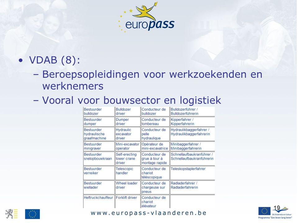19 VDAB (8): –Beroepsopleidingen voor werkzoekenden en werknemers –Vooral voor bouwsector en logistiek