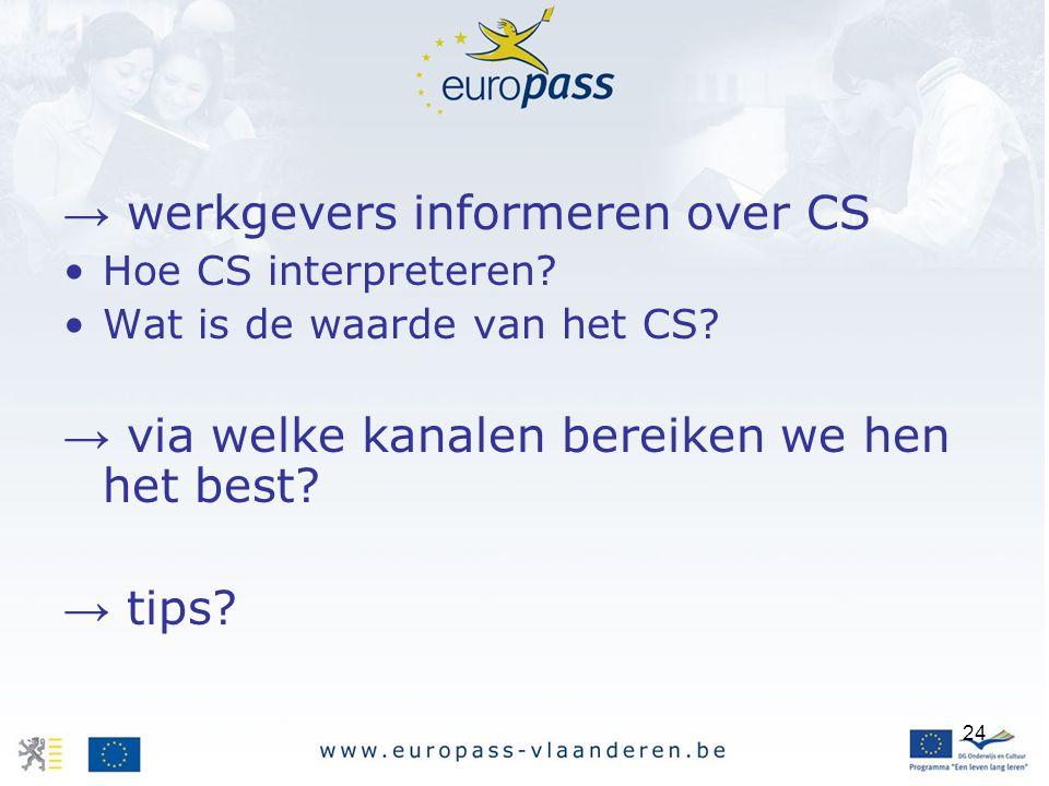 24 → werkgevers informeren over CS Hoe CS interpreteren? Wat is de waarde van het CS? → via welke kanalen bereiken we hen het best? → tips?