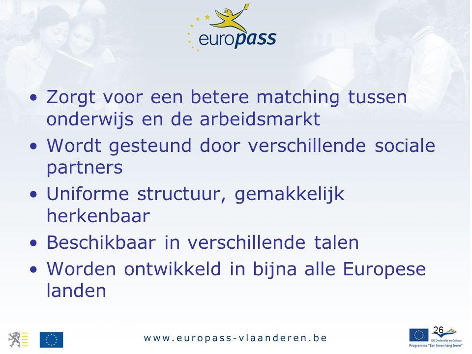 26 Zorgt voor een betere matching tussen onderwijs en de arbeidsmarkt Wordt gesteund door verschillende sociale partners Uniforme structuur, gemakkelijk herkenbaar Beschikbaar in verschillende talen Worden ontwikkeld in bijna alle Europese landen