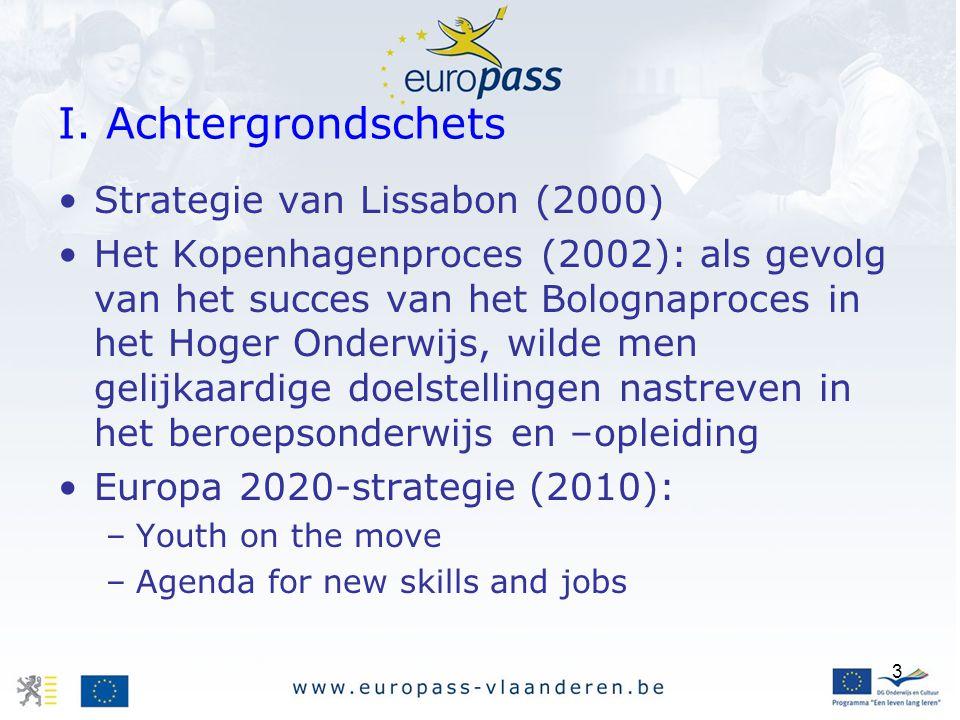 3 I. Achtergrondschets Strategie van Lissabon (2000) Het Kopenhagenproces (2002): als gevolg van het succes van het Bolognaproces in het Hoger Onderwi