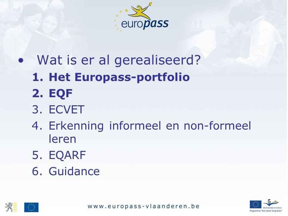 5 Wat is er al gerealiseerd? 1.Het Europass-portfolio 2.EQF 3.ECVET 4.Erkenning informeel en non-formeel leren 5.EQARF 6.Guidance