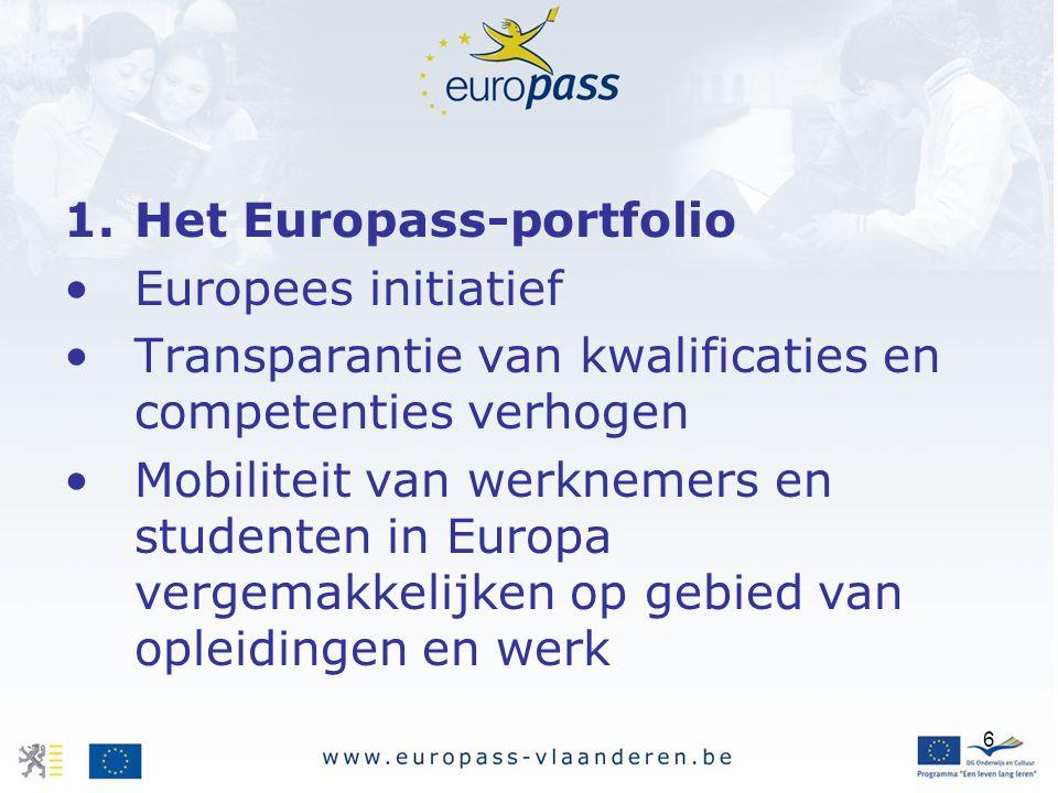 6 1.Het Europass-portfolio Europees initiatief Transparantie van kwalificaties en competenties verhogen Mobiliteit van werknemers en studenten in Europa vergemakkelijken op gebied van opleidingen en werk