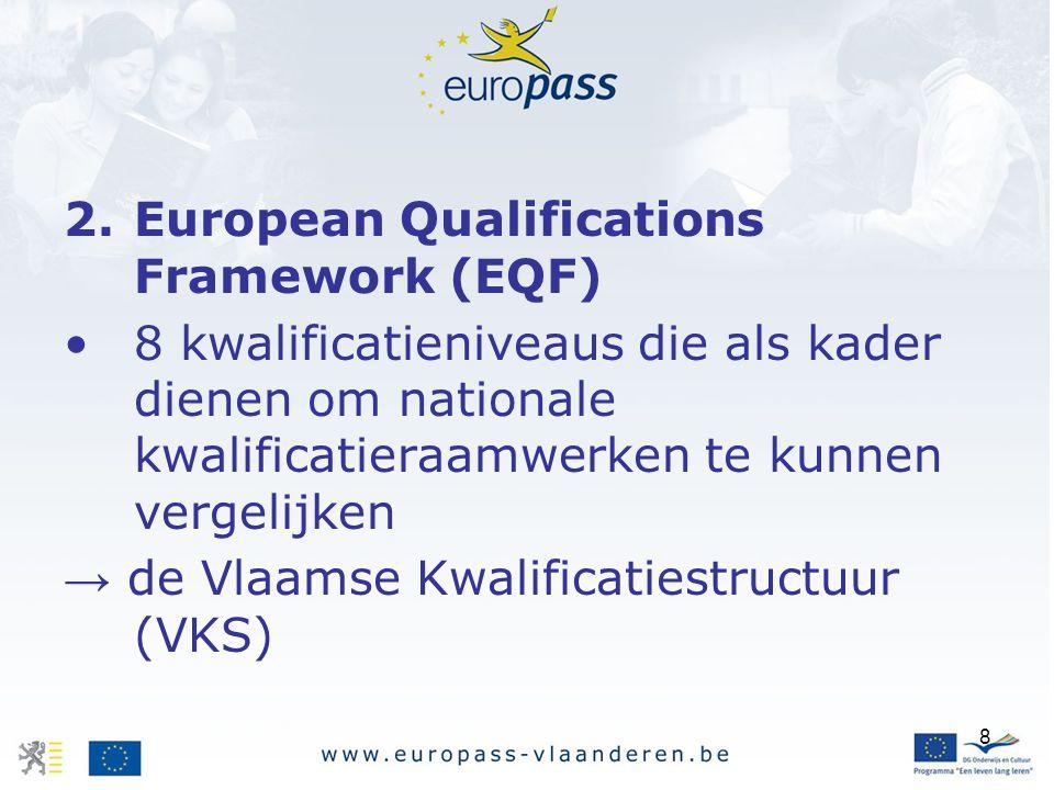 8 2.European Qualifications Framework (EQF) 8 kwalificatieniveaus die als kader dienen om nationale kwalificatieraamwerken te kunnen vergelijken → de Vlaamse Kwalificatiestructuur (VKS)
