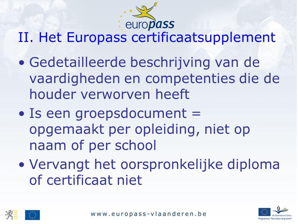 9 II. Het Europass certificaatsupplement Gedetailleerde beschrijving van de vaardigheden en competenties die de houder verworven heeft Is een groepsdo