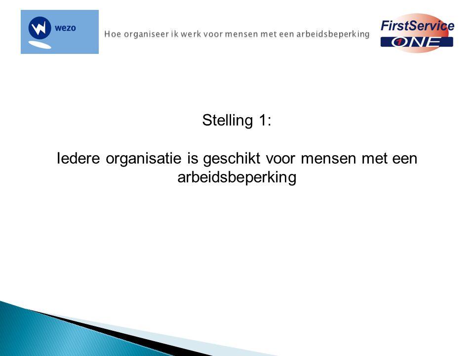 Stelling 1: Iedere organisatie is geschikt voor mensen met een arbeidsbeperking