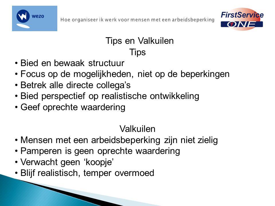 Tips en Valkuilen Tips Bied en bewaak structuur Focus op de mogelijkheden, niet op de beperkingen Betrek alle directe collega's Bied perspectief op re