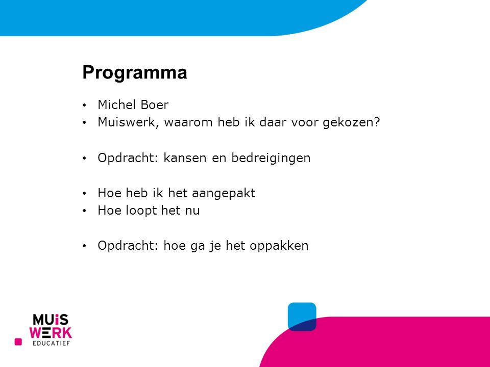 Programma Michel Boer Muiswerk, waarom heb ik daar voor gekozen? Opdracht: kansen en bedreigingen Hoe heb ik het aangepakt Hoe loopt het nu Opdracht: