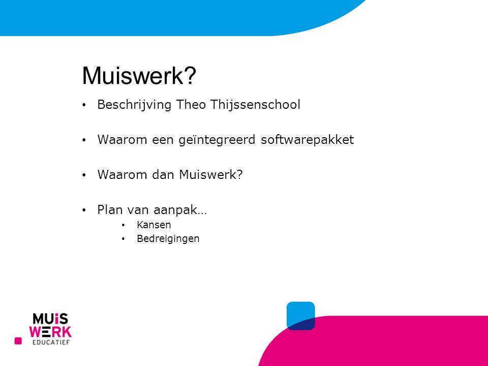 Beschrijving Theo Thijssenschool Waarom een geïntegreerd softwarepakket Waarom dan Muiswerk? Plan van aanpak… Kansen Bedreigingen Muiswerk?