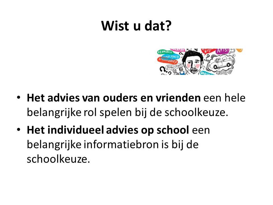 Wist u dat? Het advies van ouders en vrienden een hele belangrijke rol spelen bij de schoolkeuze. Het individueel advies op school een belangrijke inf