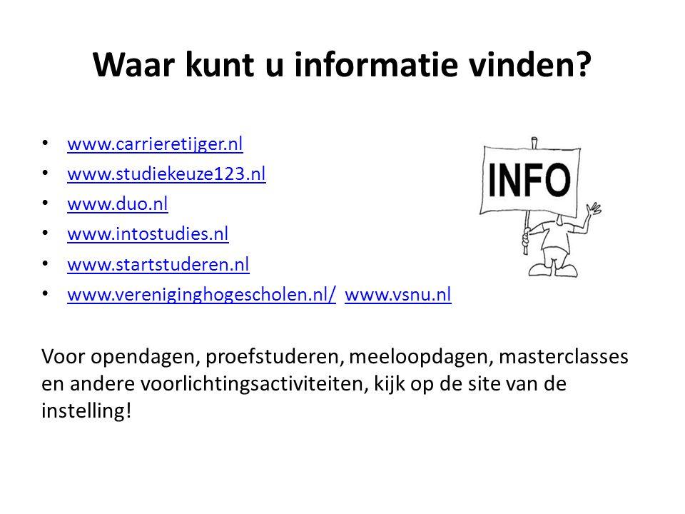 Waar kunt u informatie vinden? www.carrieretijger.nl www.studiekeuze123.nl www.duo.nl www.intostudies.nl www.startstuderen.nl www.vereniginghogeschole