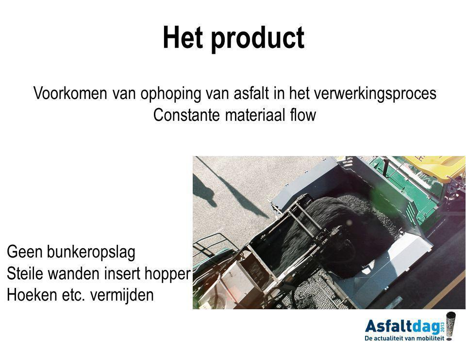 Voorkomen van ophoping van asfalt in het verwerkingsproces Constante materiaal flow Geen bunkeropslag Steile wanden insert hopper Hoeken etc.